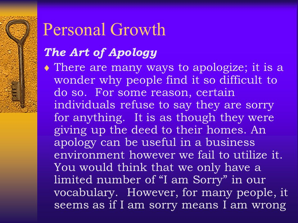 Personal Growth The Art of Apology