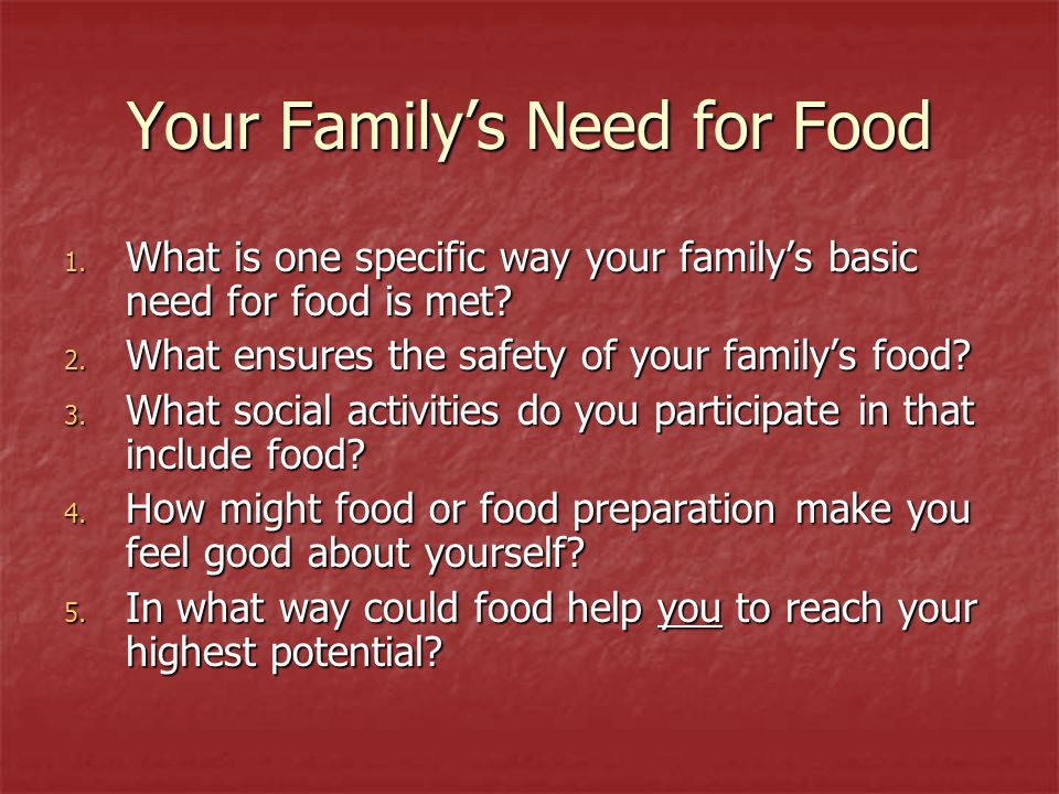 Your Family's Need for Food