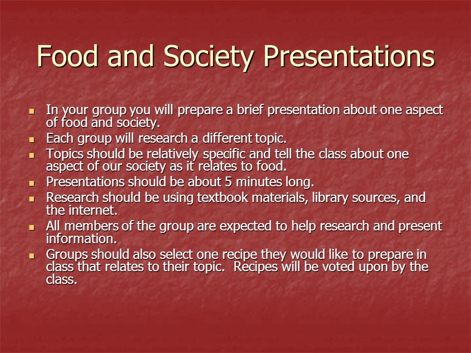 Food and Society Presentations