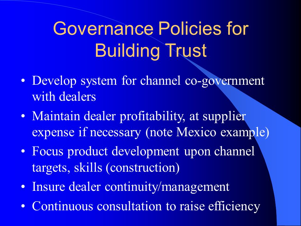 Governance Policies for Building Trust