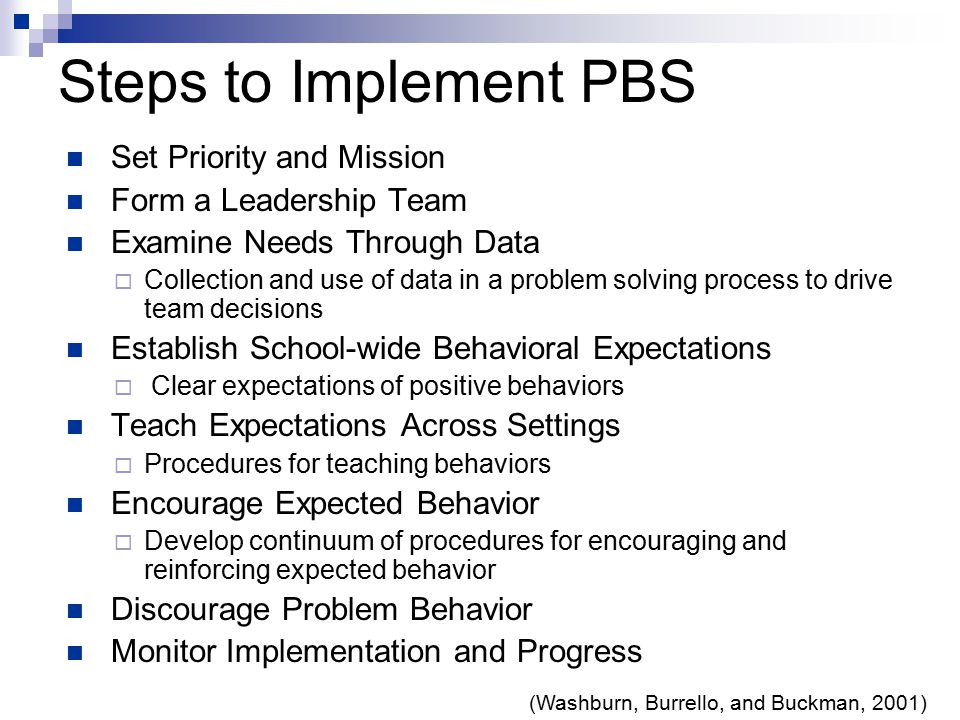 Steps to Implement PBS Set Priority and Mission Form a Leadership Team