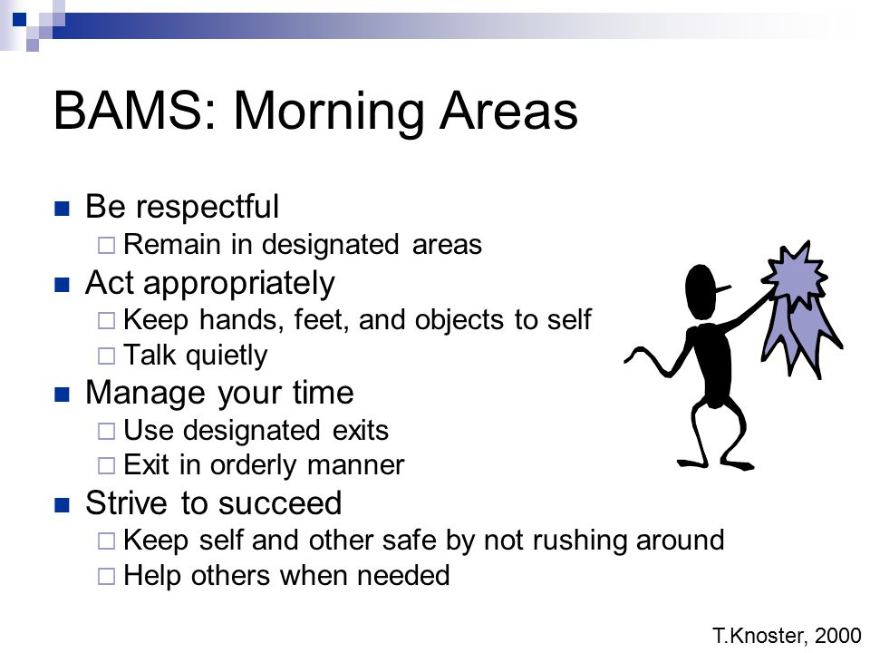 BAMS: Morning Areas Be respectful Act appropriately Manage your time