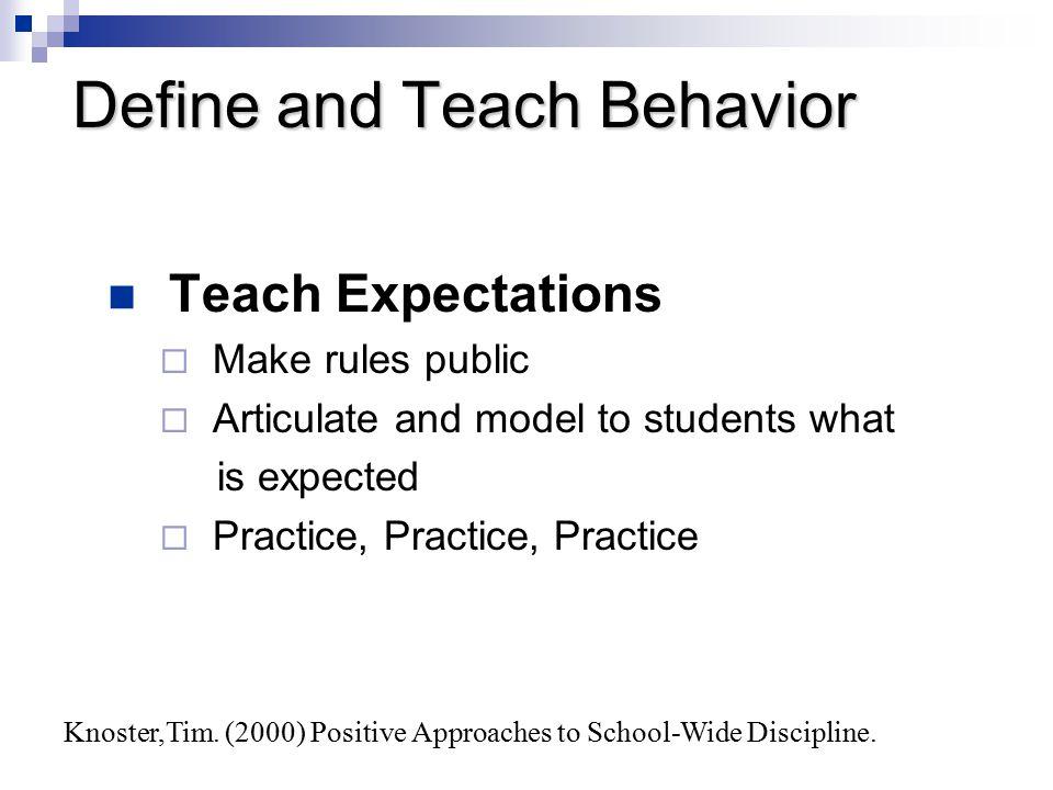 Define and Teach Behavior