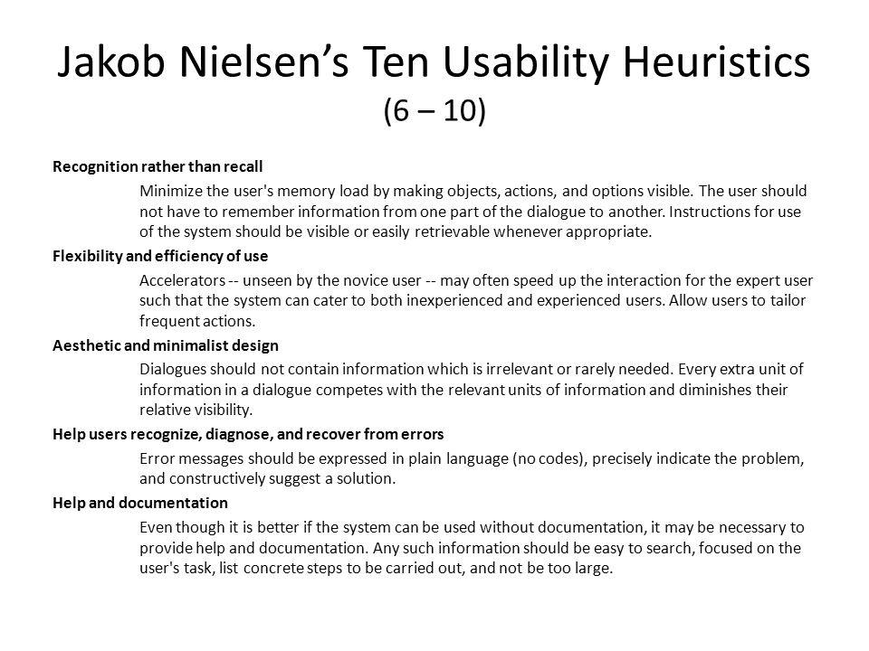 Jakob Nielsen's Ten Usability Heuristics (6 – 10)