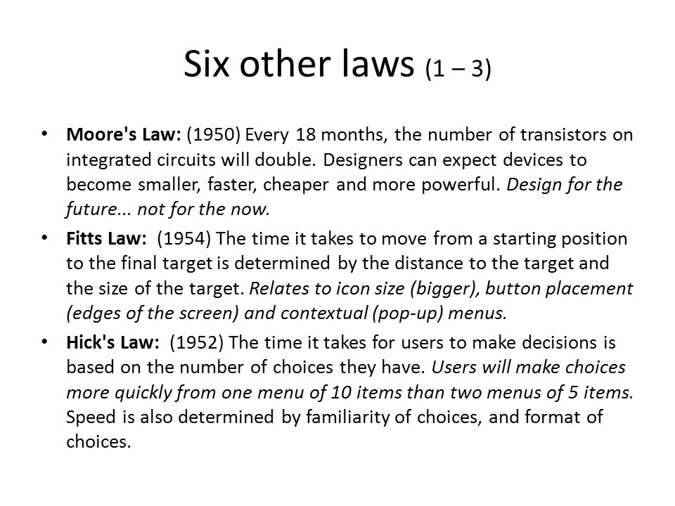 Six other laws (1 – 3)