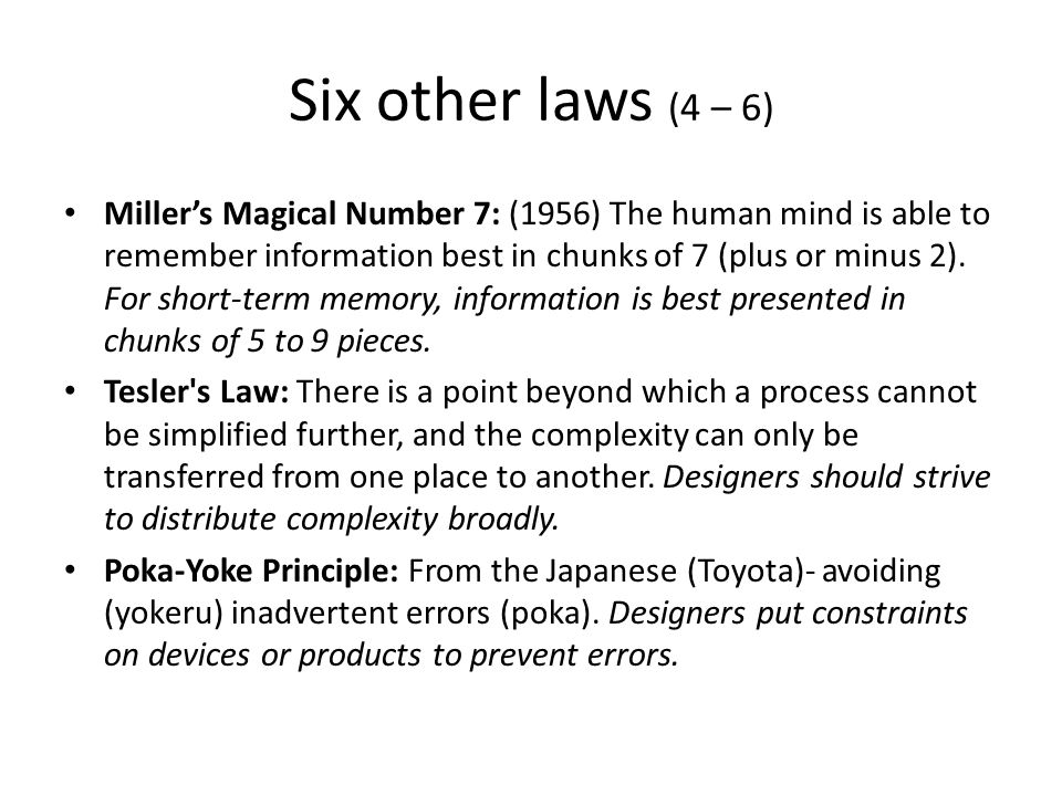 Six other laws (4 – 6)