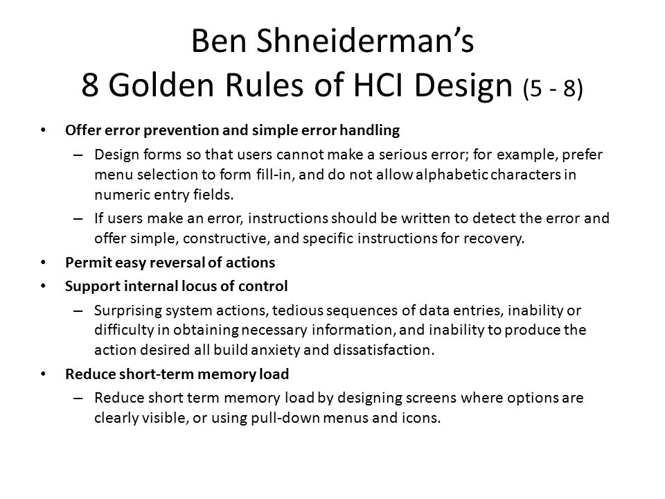 Ben Shneiderman's 8 Golden Rules of HCI Design (5 - 8)