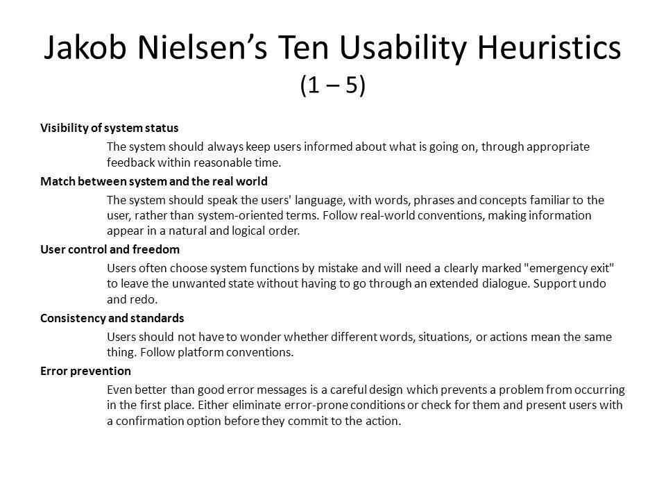 Jakob Nielsen's Ten Usability Heuristics (1 – 5)