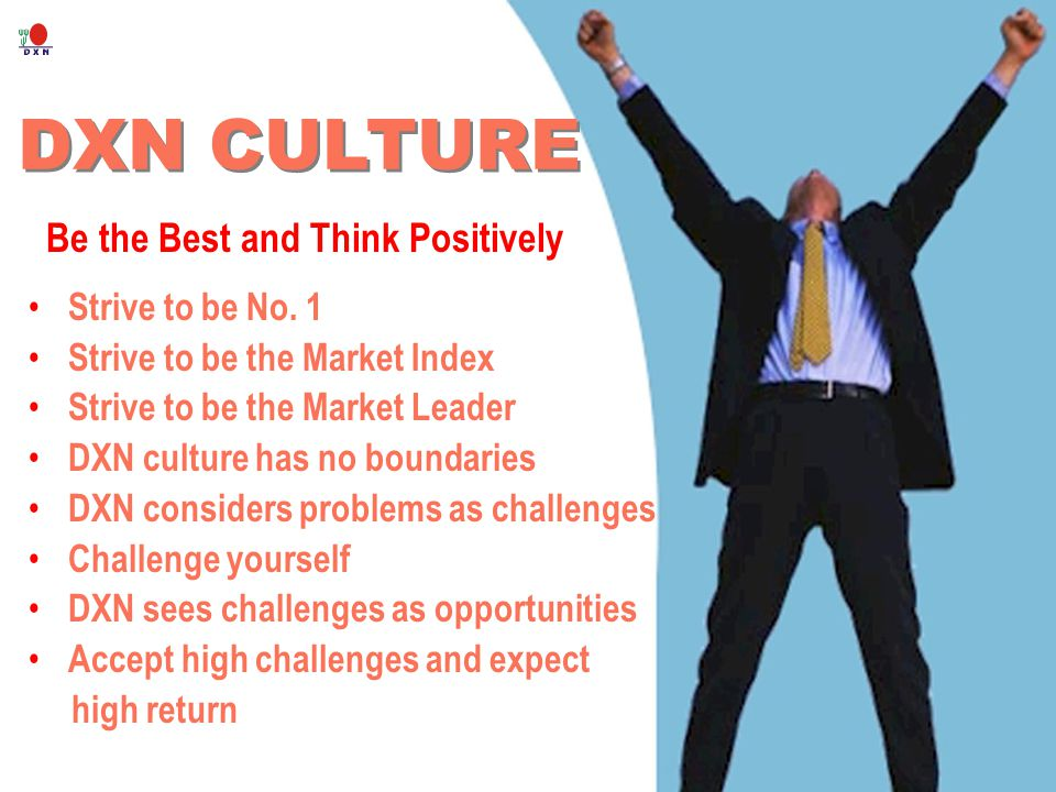 DXN CULTURE Be the Best and Think Positively Strive to be No. 1