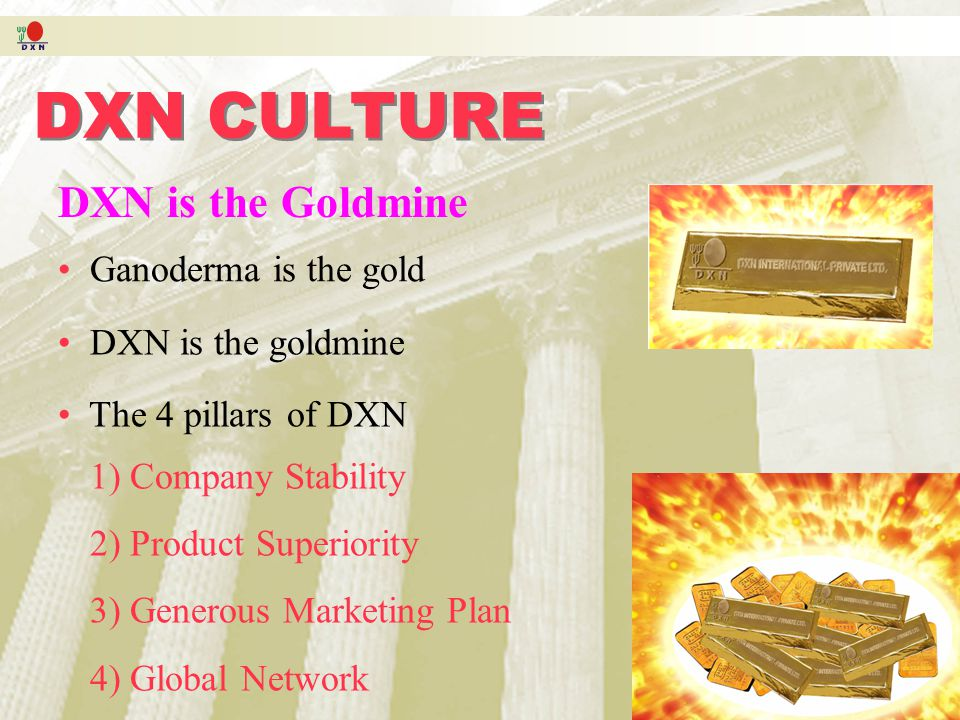 DXN CULTURE DXN is the Goldmine Ganoderma is the gold