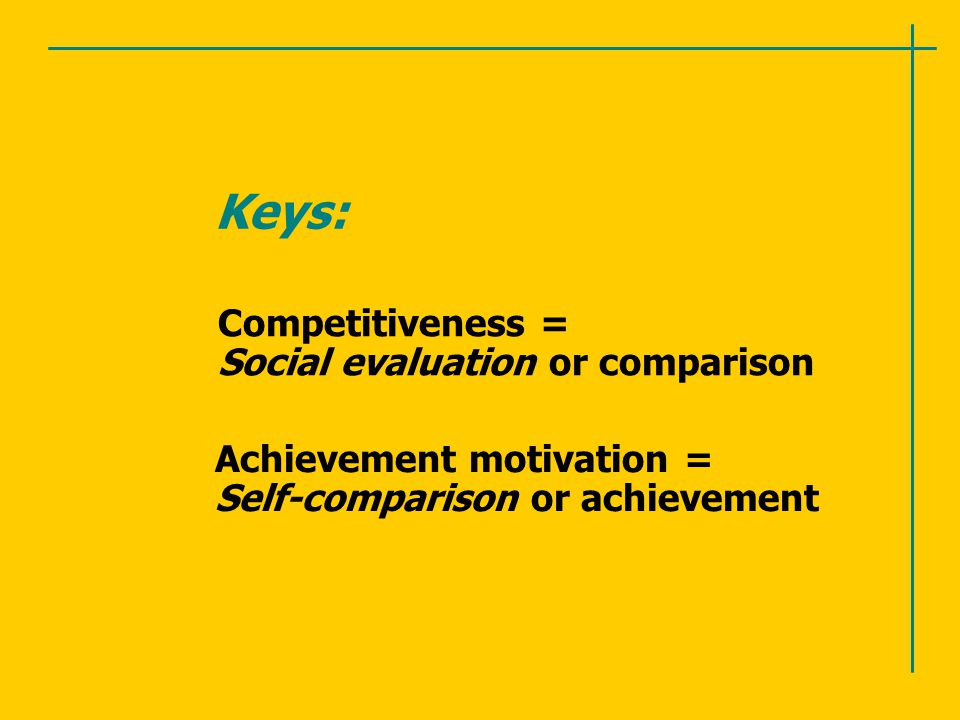 Keys: Competitiveness = Social evaluation or comparison