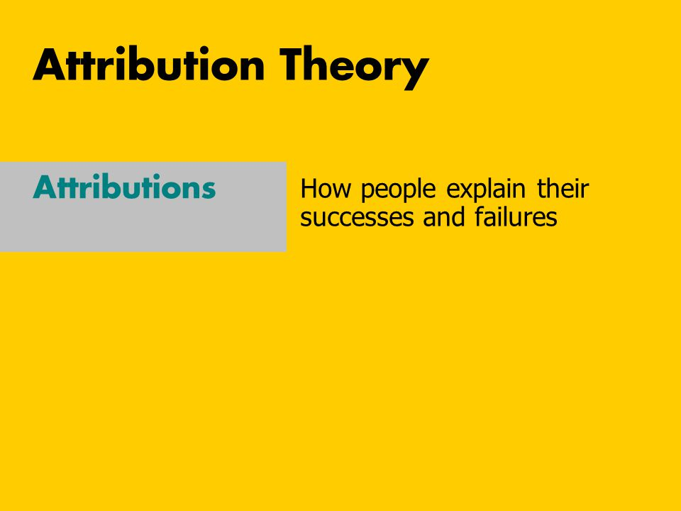 Attribution Theory Attributions