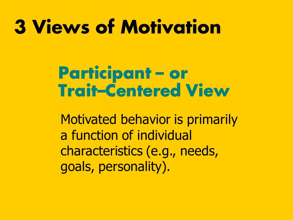 3 Views of Motivation Participant – or Trait–Centered View