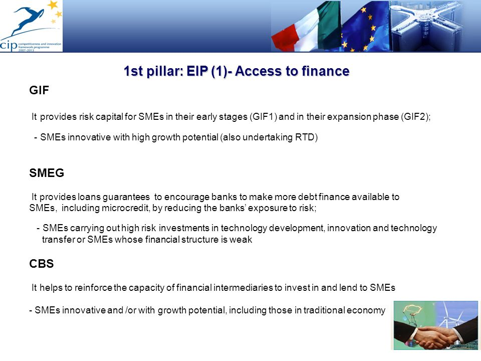 1st pillar: EIP (1)- Access to finance