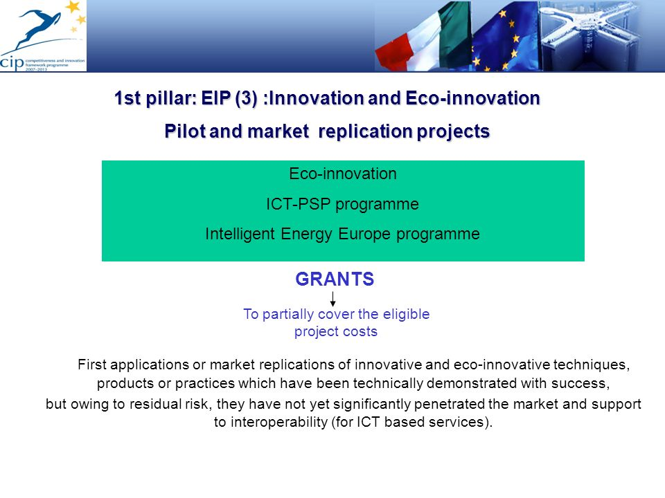 1st pillar: EIP (3) :Innovation and Eco-innovation