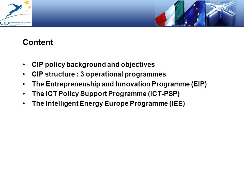Content CIP policy background and objectives
