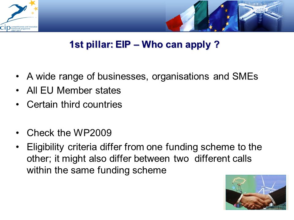1st pillar: EIP – Who can apply