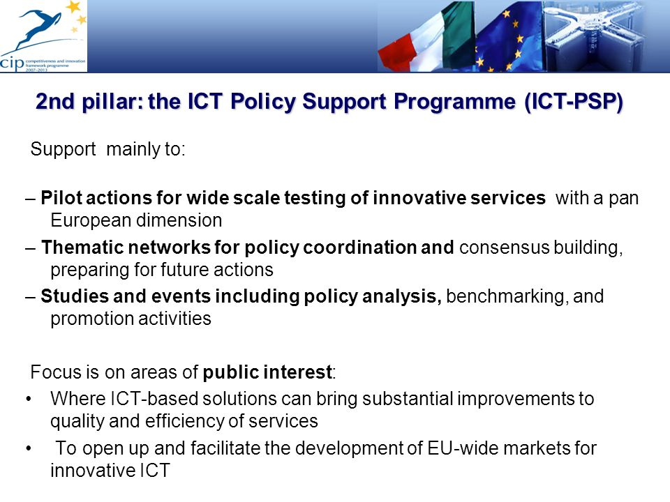 2nd pillar: the ICT Policy Support Programme (ICT-PSP)