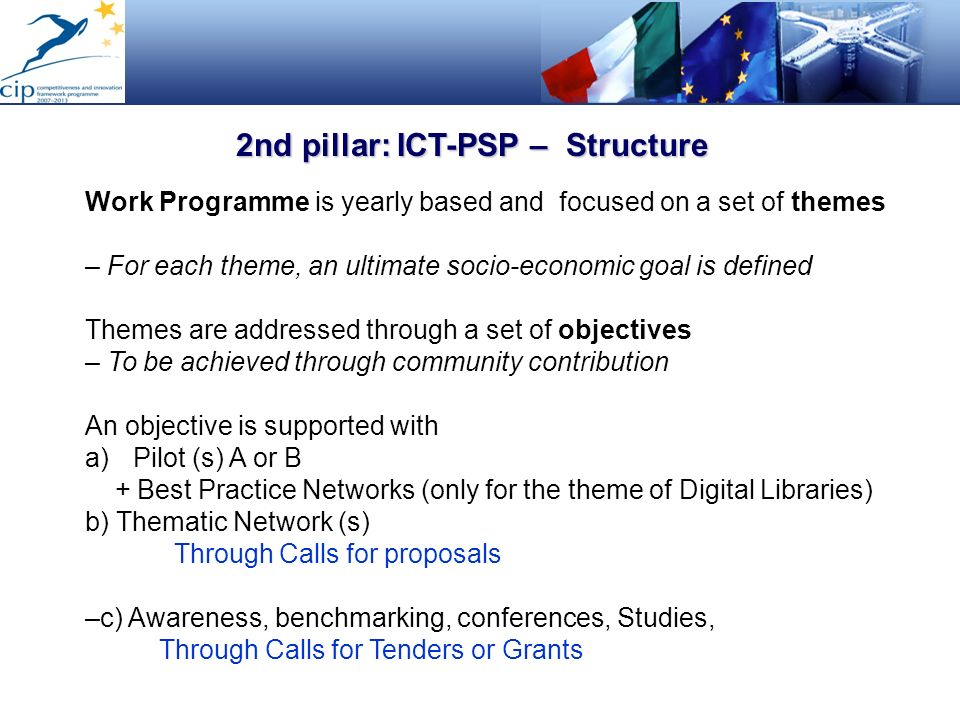 2nd pillar: ICT-PSP – Structure