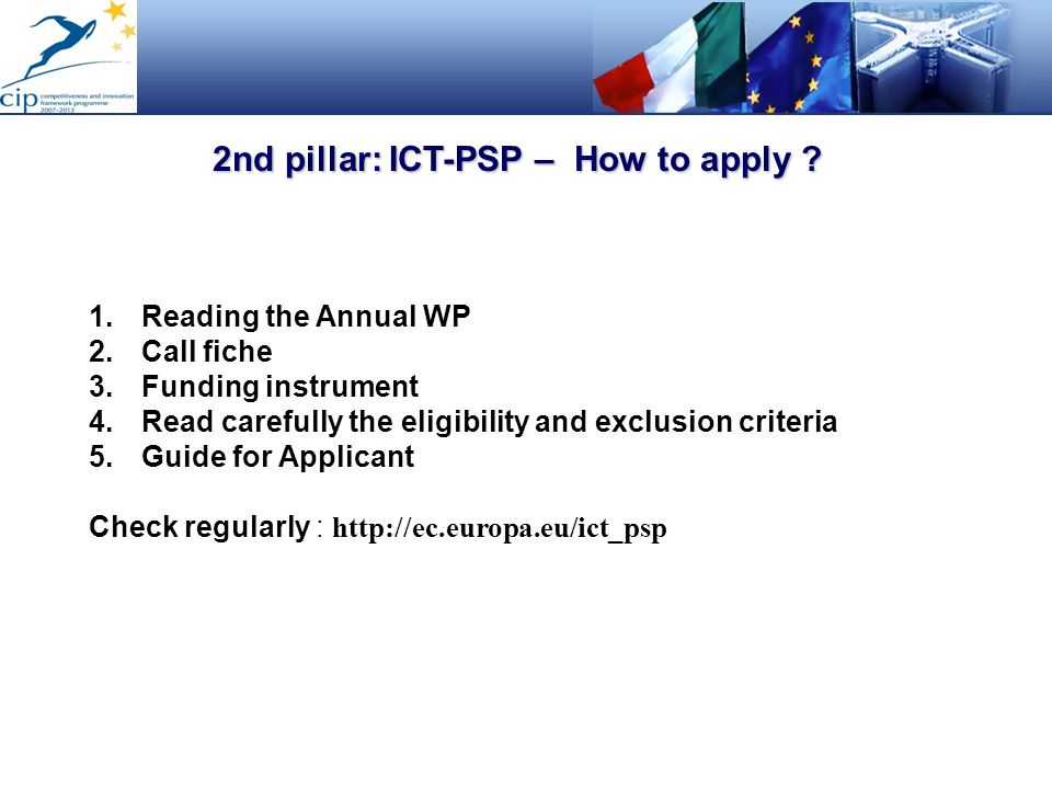 2nd pillar: ICT-PSP – How to apply