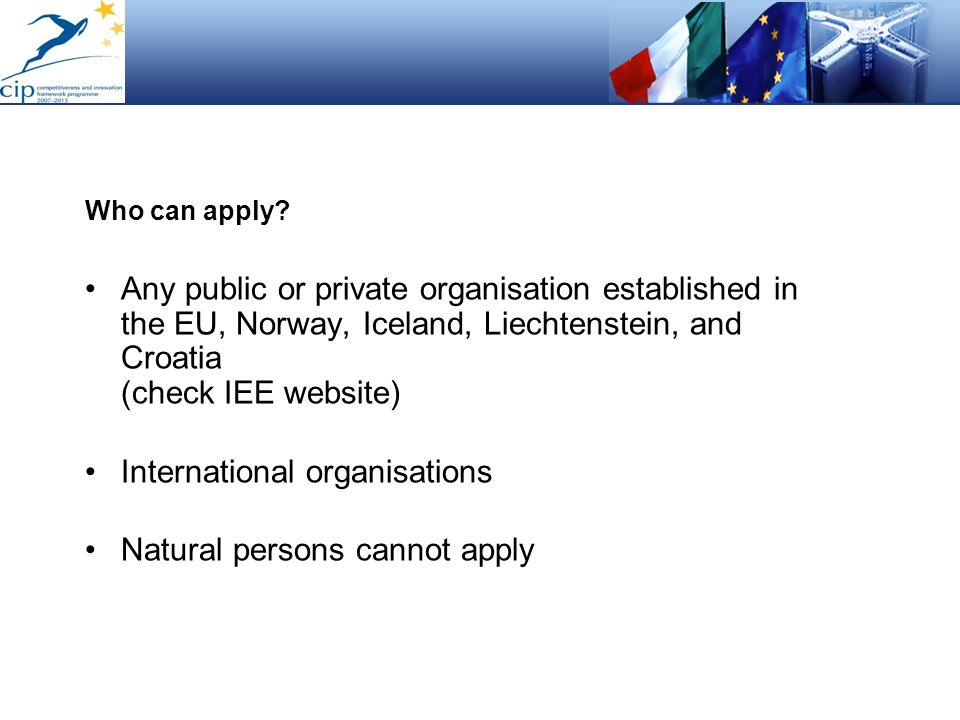 International organisations Natural persons cannot apply