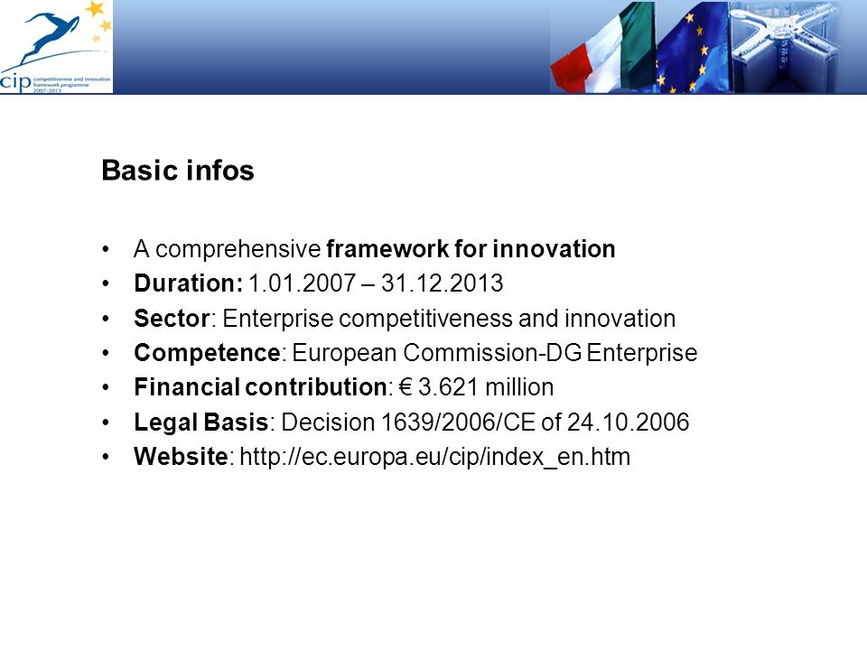 Basic infos A comprehensive framework for innovation