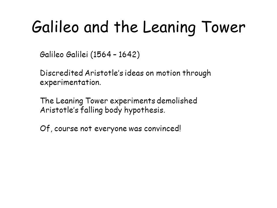 Galileo and the Leaning Tower