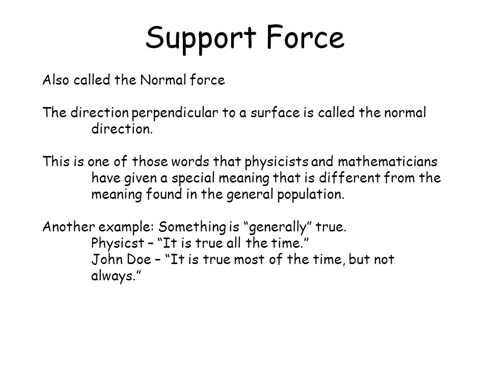 Support Force Also called the Normal force