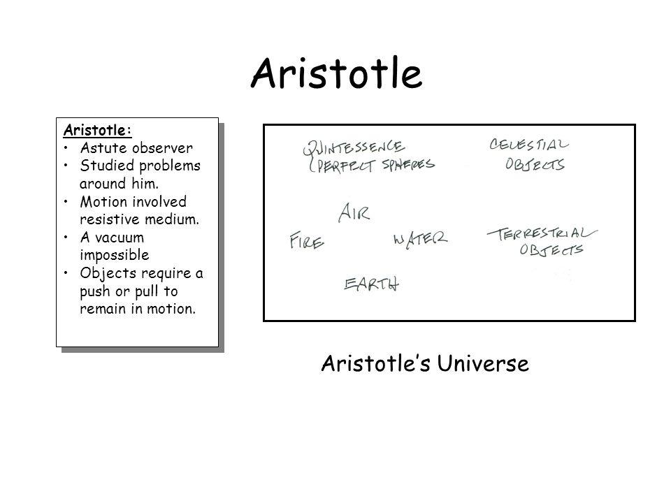 Aristotle Aristotle's Universe Aristotle: Astute observer