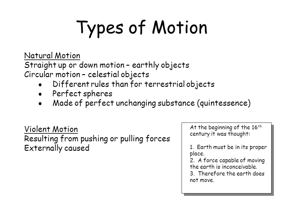 Types of Motion Natural Motion