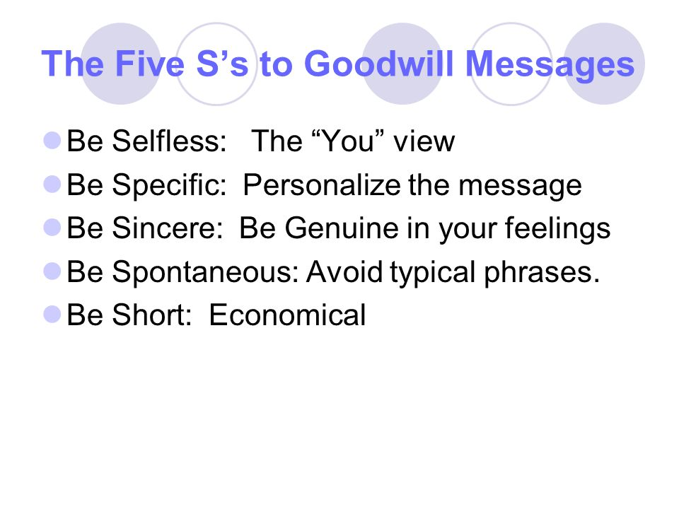 The Five S's to Goodwill Messages