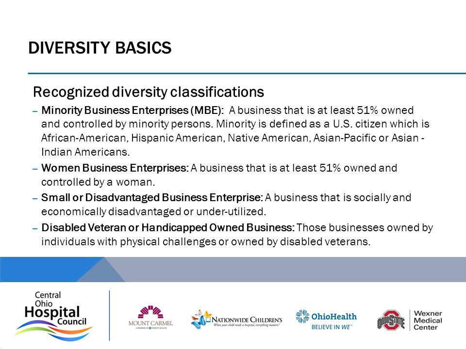 DIVERSITY Basics Recognized diversity classifications