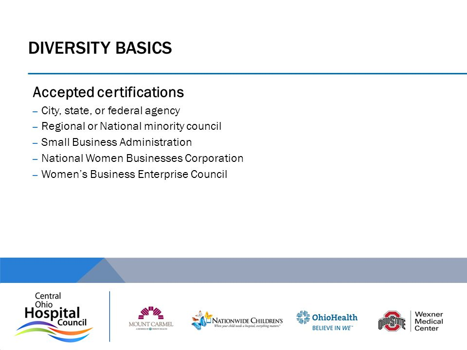 DIVERSITY Basics Accepted certifications