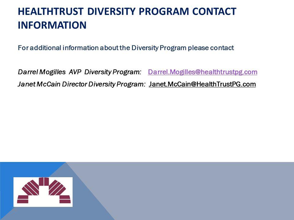 HealthTrust Diversity Program Contact Information
