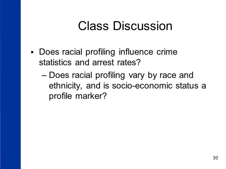Class Discussion Does racial profiling influence crime statistics and arrest rates