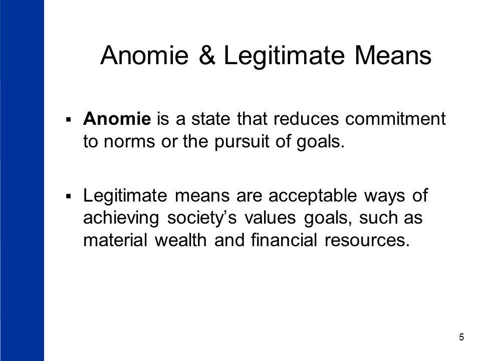 Anomie & Legitimate Means