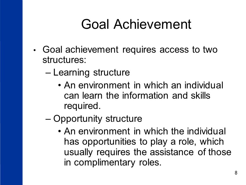 Goal Achievement Goal achievement requires access to two structures: