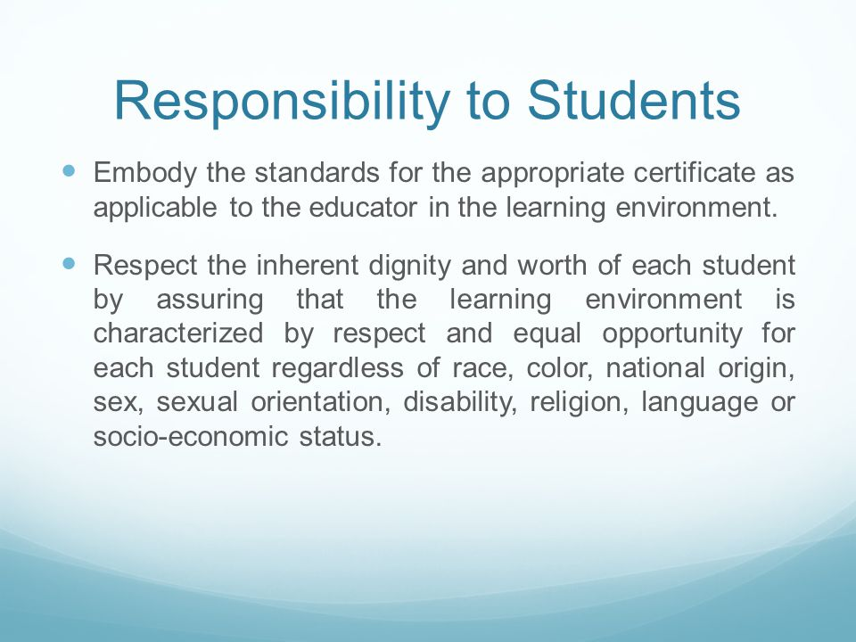 Responsibility to Students