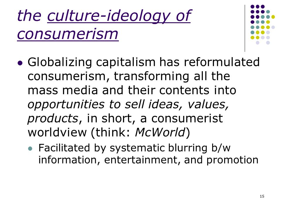 the culture-ideology of consumerism