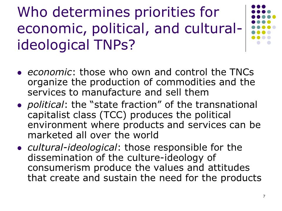 Who determines priorities for economic, political, and cultural-ideological TNPs