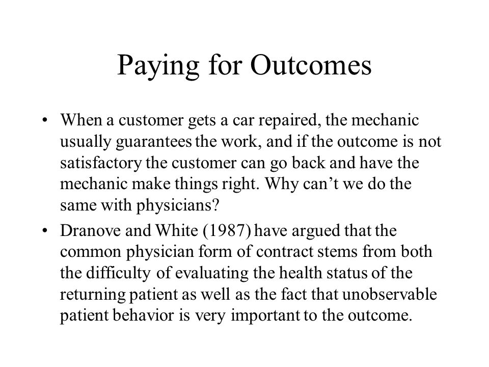 Paying for Outcomes