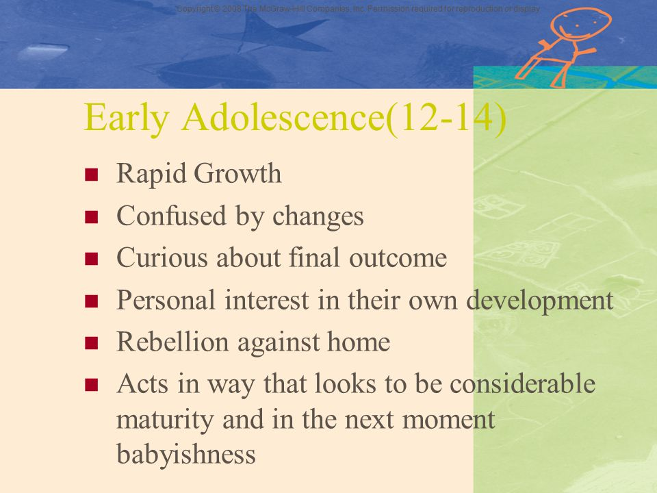 Early Adolescence(12-14) Rapid Growth Confused by changes