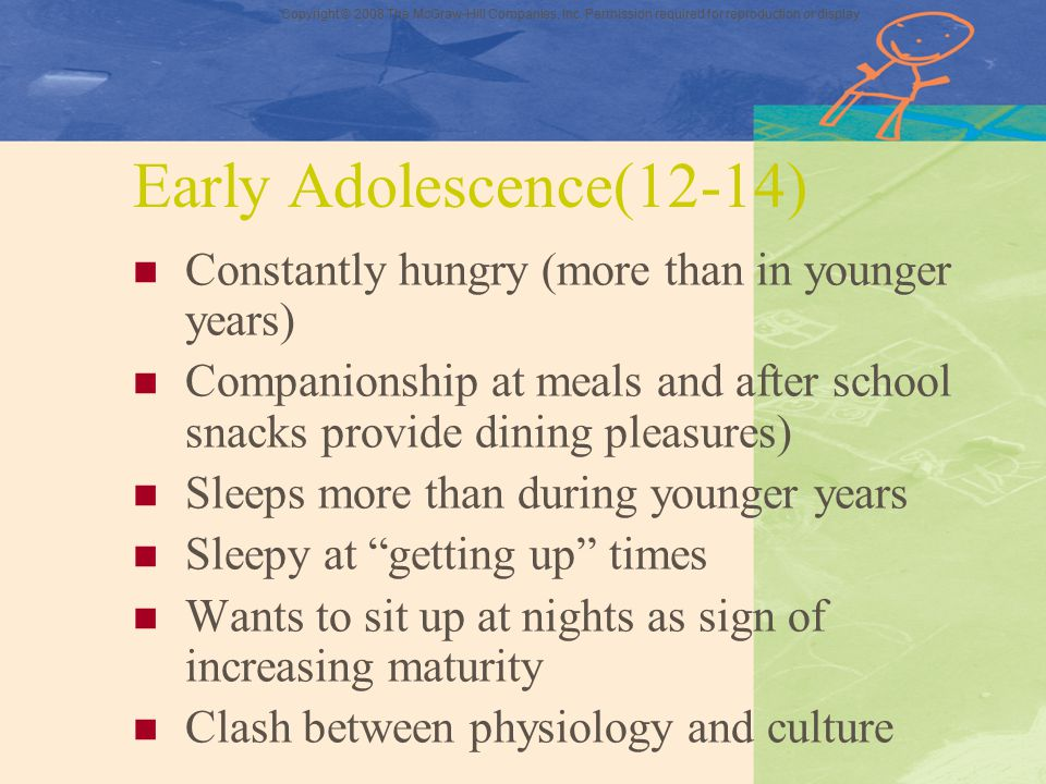 Early Adolescence(12-14) Constantly hungry (more than in younger years) Companionship at meals and after school snacks provide dining pleasures)