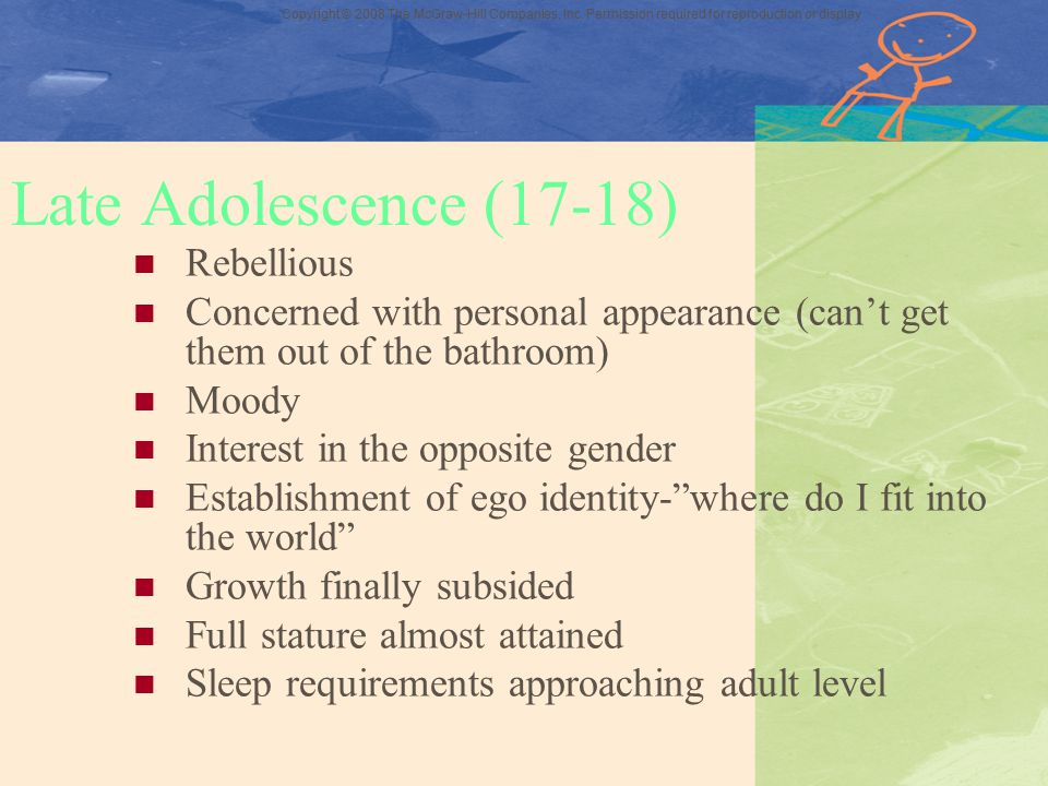 Late Adolescence (17-18) Rebellious