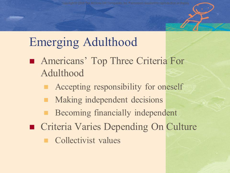 Emerging Adulthood Americans' Top Three Criteria For Adulthood