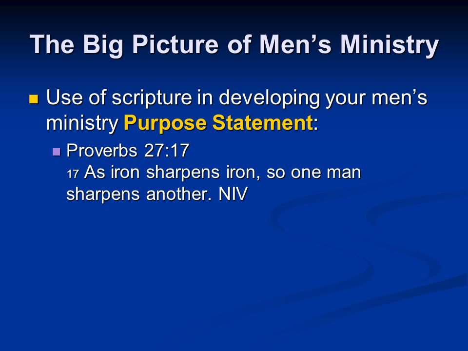 The Big Picture of Men's Ministry
