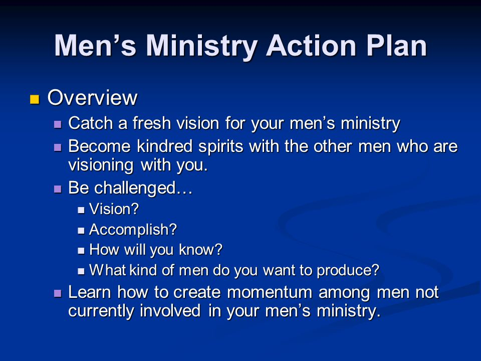 Men's Ministry Action Plan