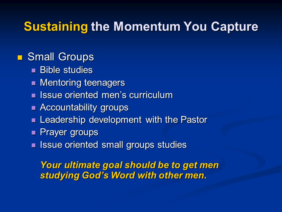 Sustaining the Momentum You Capture
