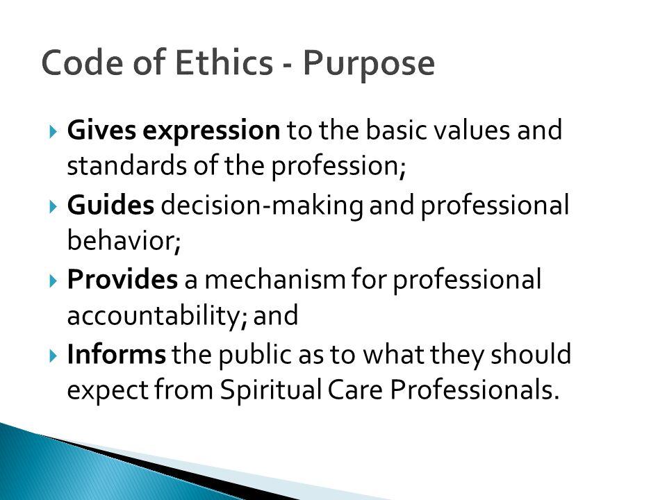 Code of Ethics - Purpose