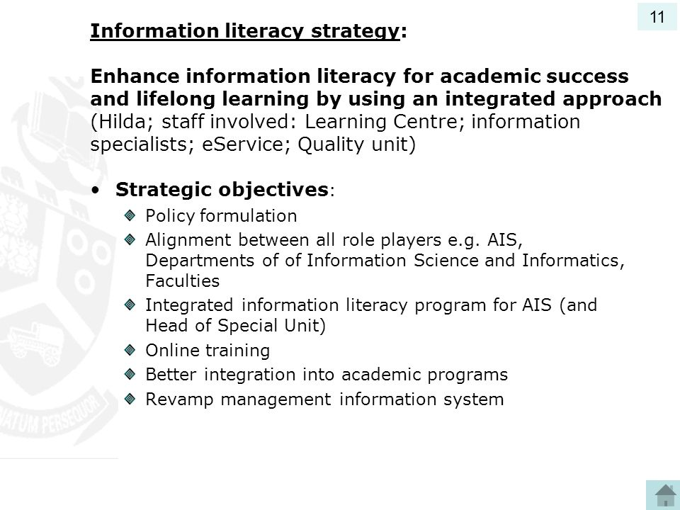 Strategic objectives: